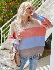 Women Striped Design Colourful Oversized Pullover