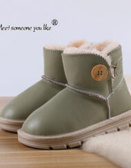 Baby Kids Solid Leather Fleece Lining Winter Boots