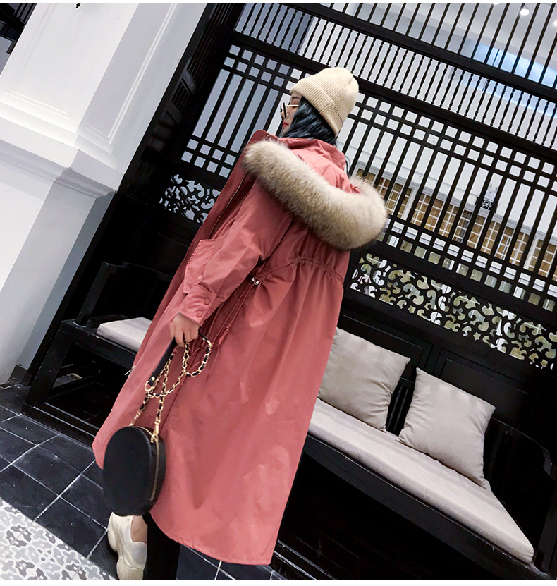 Women White Duck Down Hooded Long Coat With Raccoon Fur Trim