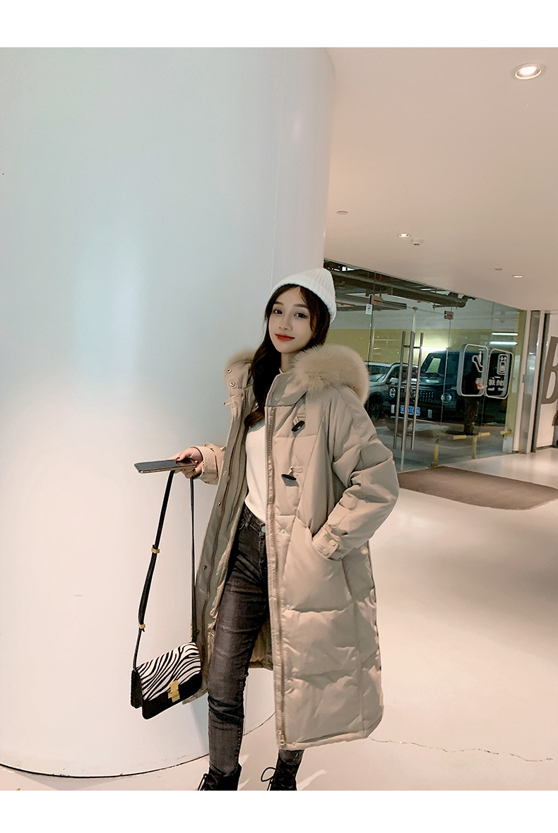 Women Winter Long Coat Fox Fur Trim Down Coat