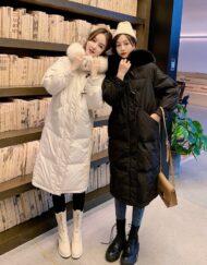 Women Winter Long Coat Fox Fur Trim Down Coat