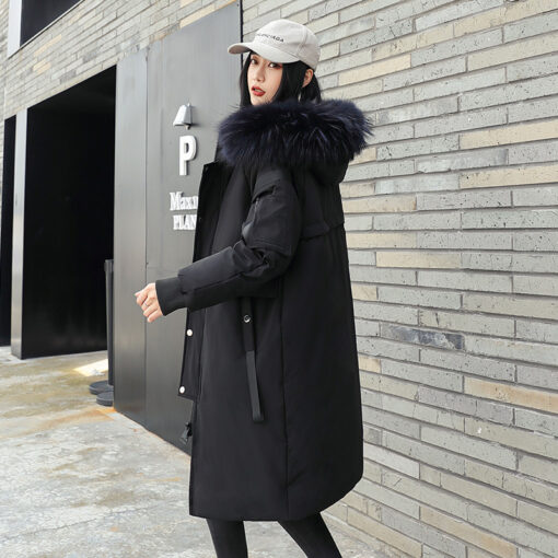 Winter Duck Down Long Coat With Fur Trimmed Hood For Unisex